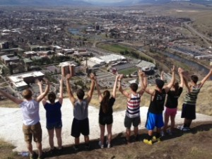 Victory celebration above the M overlooking the Missoula Valley.