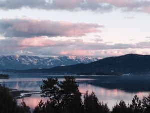 (Sunset over Flathead Lake)