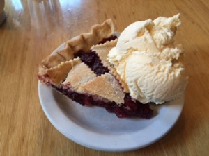 Loula's in Whitefish has amazing pie. Just so you know this huckleberry-blackberry pie is available for breakfast.