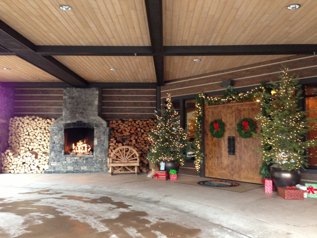Festive entrance to The Lodge at Whitefish Lake