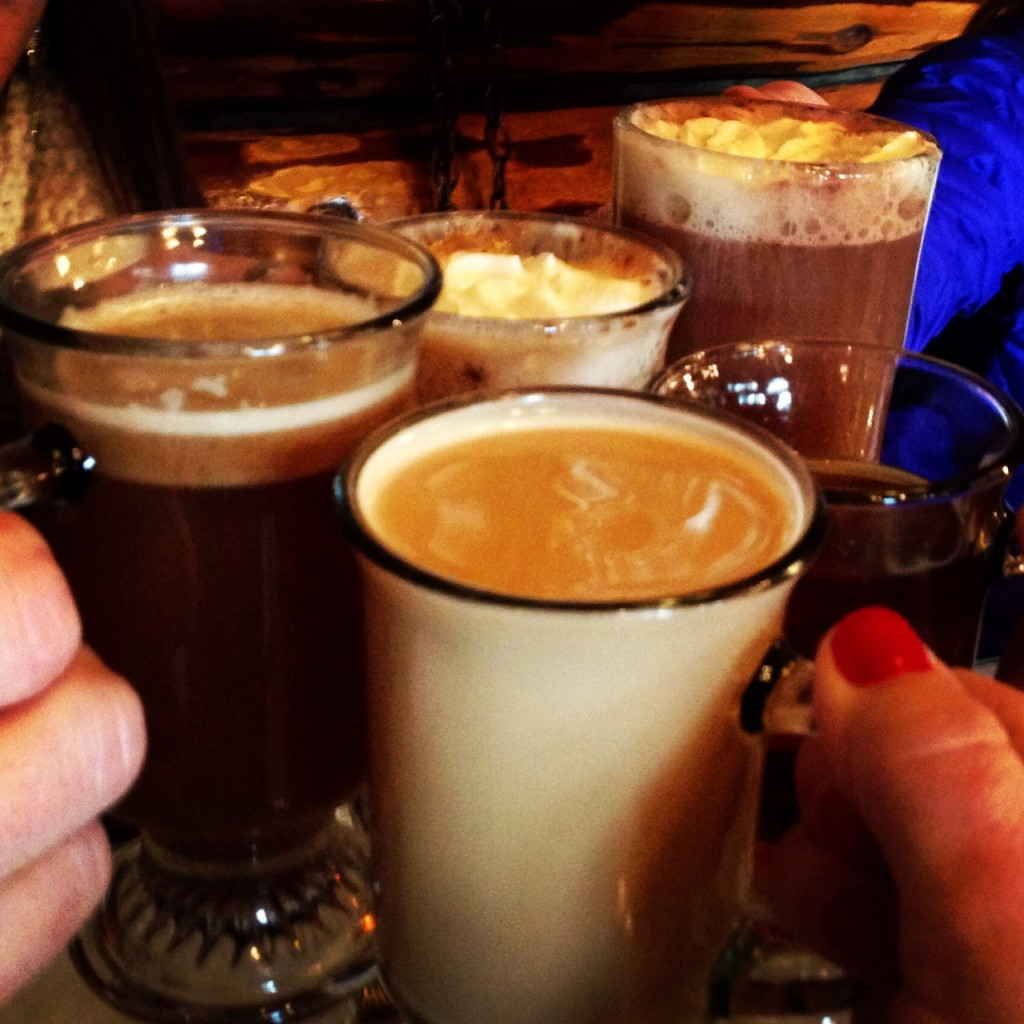 Hot beverages by the fire in the historic lodge