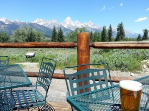 A local beer in the shadow of the Teton Range.