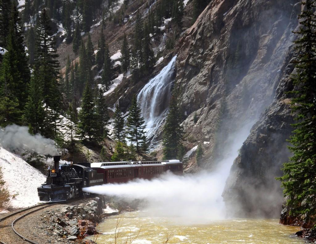 The Durango Silverton Train rolls through the canyon. Photo courtesy Durango and Silverton Narrow Gauge Railroad.