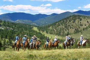 A group trail ride at the Tarryall River Ranch in Colorado.
