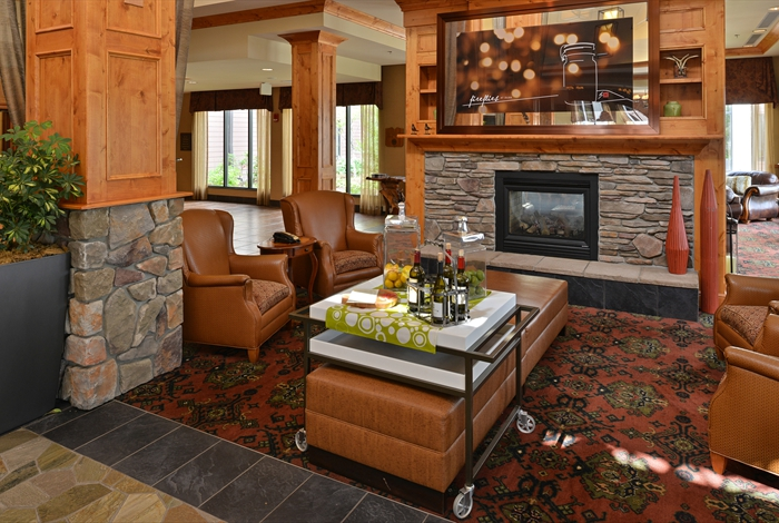 Stonework and a fireplace welcome guests to Kalispell's Hilton Garden Inn.