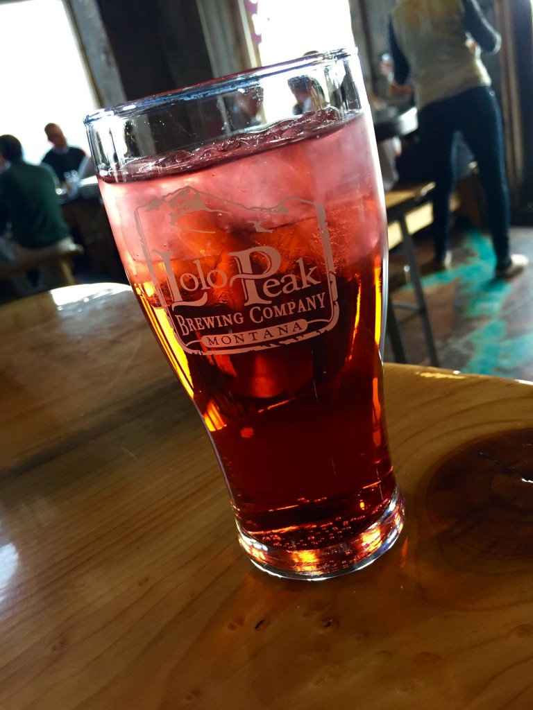 Huckleberry soda at Lolo Peak Brewery.