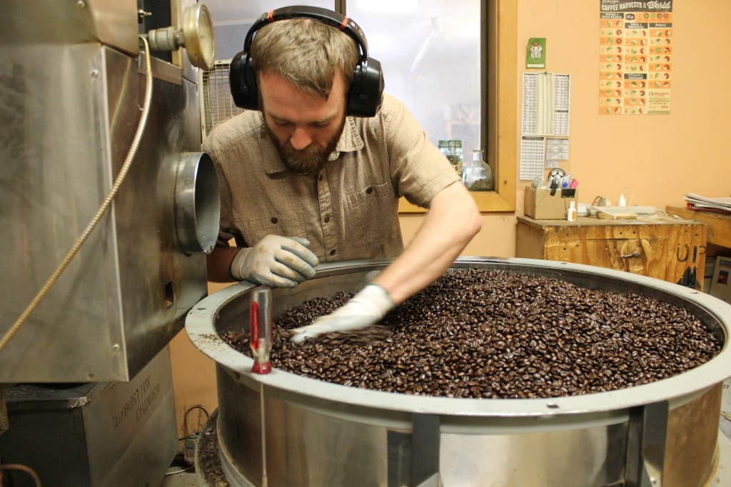 Coffee roasting at Montana Coffee Traders.