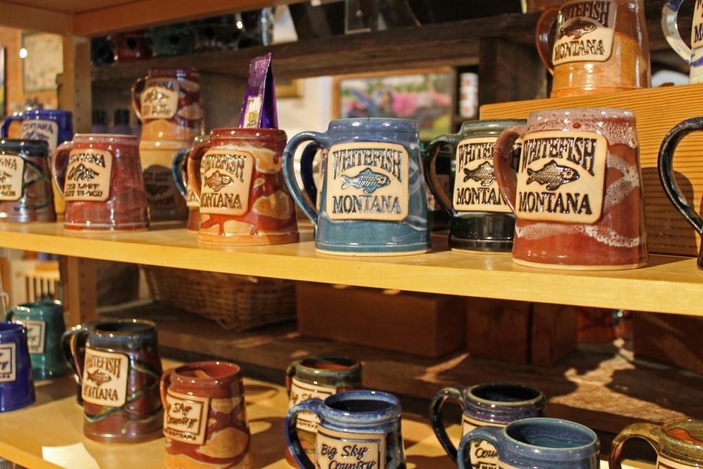 Locally made mugs at Whitefish Pottery.