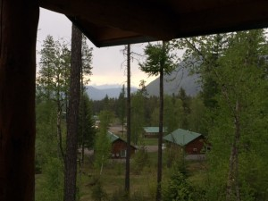 The view into Glacier National Park from a cabin at Glacier Outdoor Center.