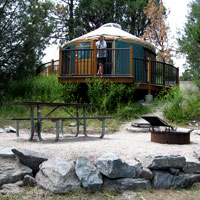 Yurt camping at Big Arm State Park. Photo: Montana State Parks