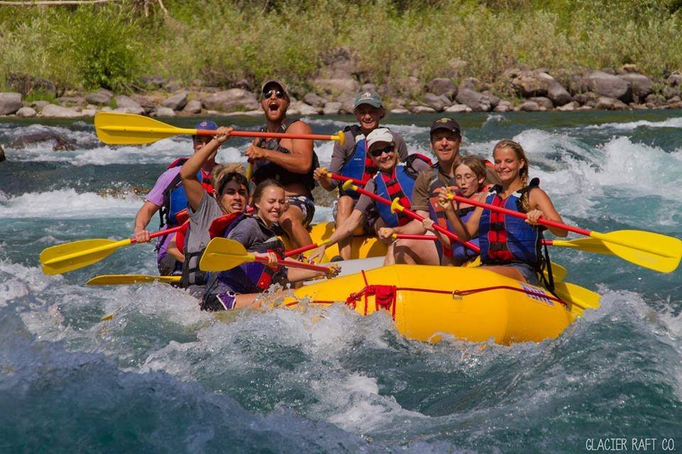 A group rafts the Middle Fork of the Flathead River.