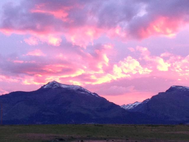 Sunset over the Bitterroot Mountains.