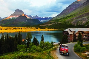 Sunrise at Many Glacier Hotel in Glacier National Park.
