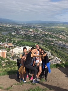 Hiking to the M above Missoula for a team selfie.