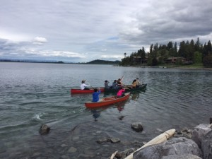 Canoe racing competition on Flathead Lake.