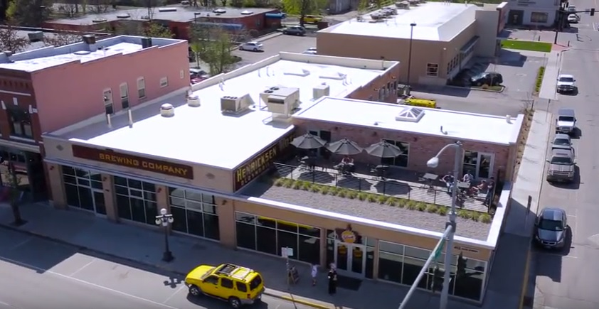 A bird's eye view of Kalispell Brewing Company.