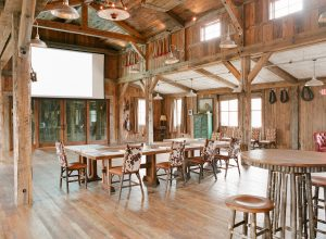 The inside of the Buckle Barn, a great meeting space at The Ranch at Rock Creek.
