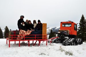Guests enjoy a snoscat tour.