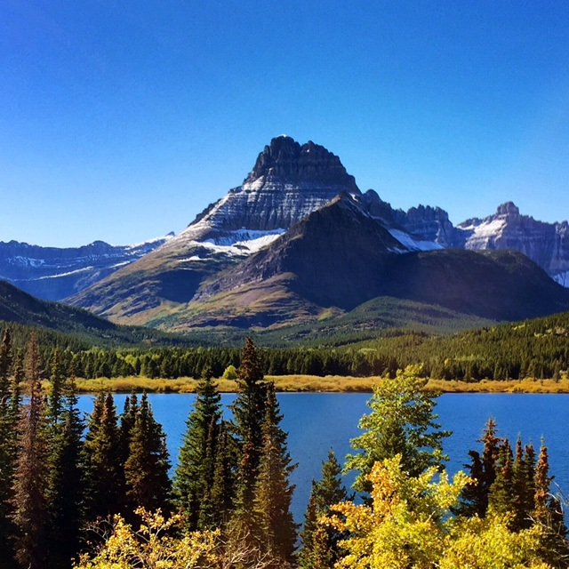 The view of Swiftcurrent Lake from Many Glacier Hotel.