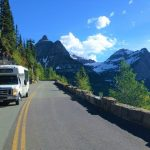 A Sun Tour cruises along the Going-to-the-Sun Road.