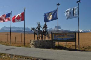 Warrior sculptures welcome visitors to the Blackfeet Nation.