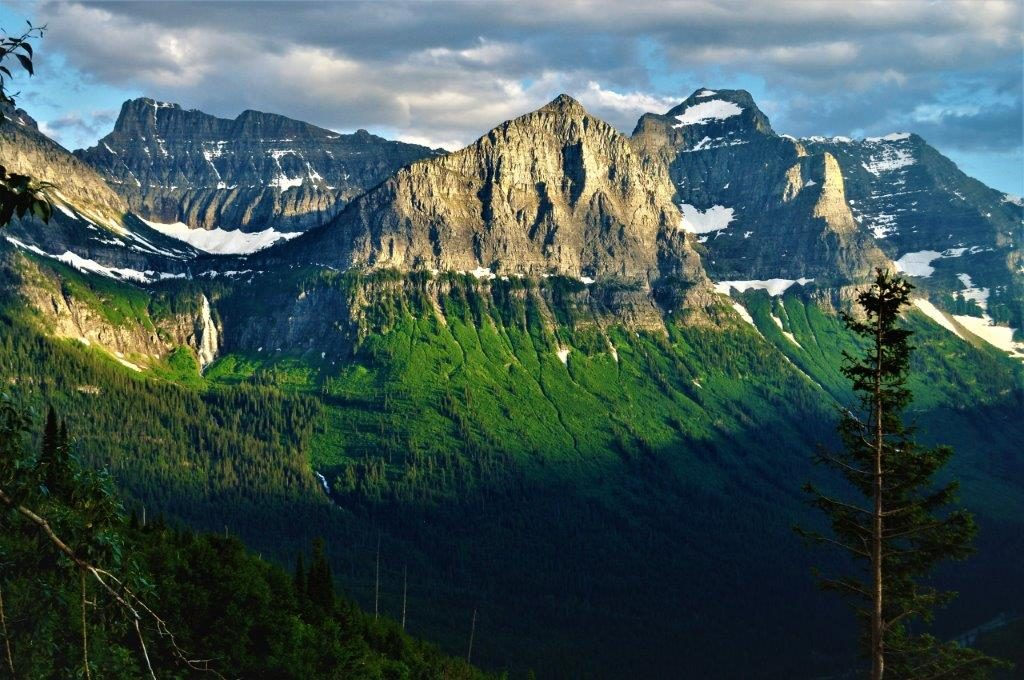 The glacial-carved terrain of Glacier National Park can be seen along the tour.